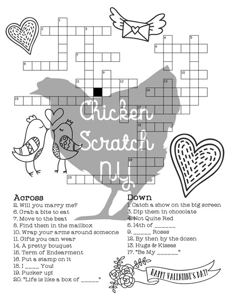 image regarding Printable Valentines Black and White named Printable Valentines Working day Crossword Puzzle