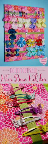 Stop finding hair bows everywhere and corral the in one pretty place with a DIY Hair Bow Holder. Pick a fabric to match the room and grab your hot glue gun, you'll be done in no time!