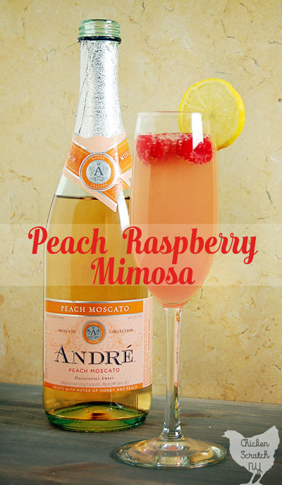 Celebrate with a Raspberry Peach Mimosa full of fresh flavors and bubbles! If a classic mimosa and a peach Bellini made a baby this would be it #moscato #mimosa