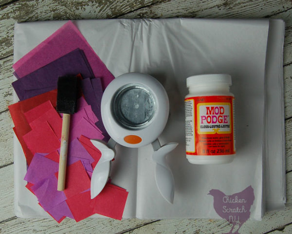 Make a colorful tissue paper garland with the help of Mod Podge and a large hole punch. This easy tissue paper craft is fun and customizable. Switch up the colors for DIY tissue paper decoration for any occasion
