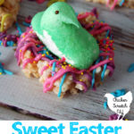 Marshmallow peep chick in rice crispie nest decorated with candy melts and sprinkles