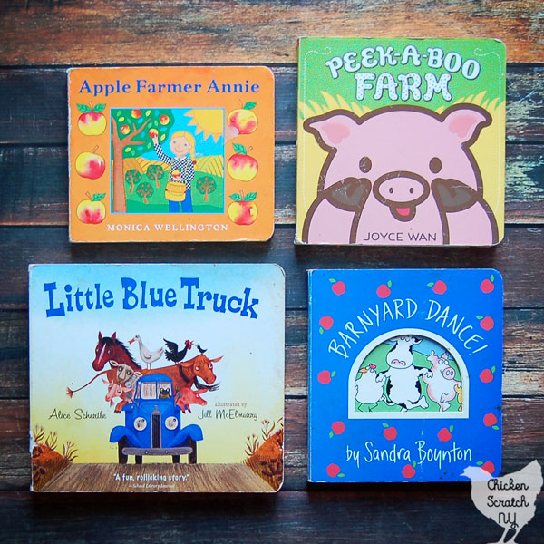 children's farm books The Little Blue Truck, Apple Farmer Annie, Peek-a-Boo Farm Barnyard Dance