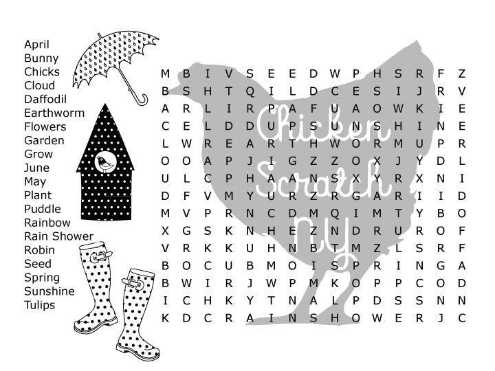 Monster image with spring word search printable difficult