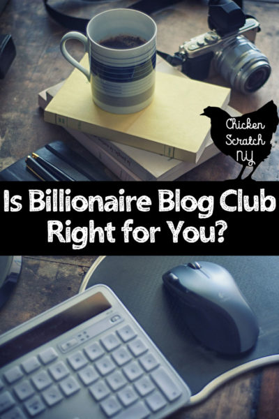 desk with camera, coffee and laptop with text overlay for Is Billionaire Blog Club Right for You?