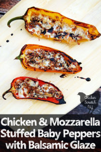 Chicken & Mozzarella Stuffed Baby Peppers with Balsamic Glaze