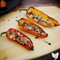 Chicken & Mozzarella Stuffed Baby Peppers with Balsamic Glaze with a Balsamic Glaze
