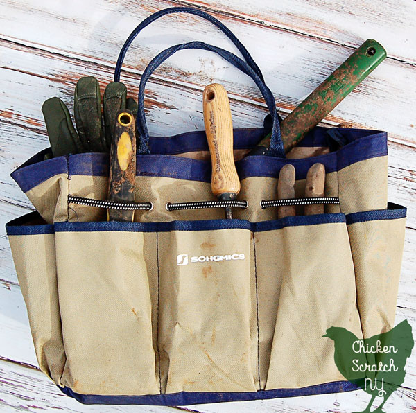 garden tote filled with garden tools