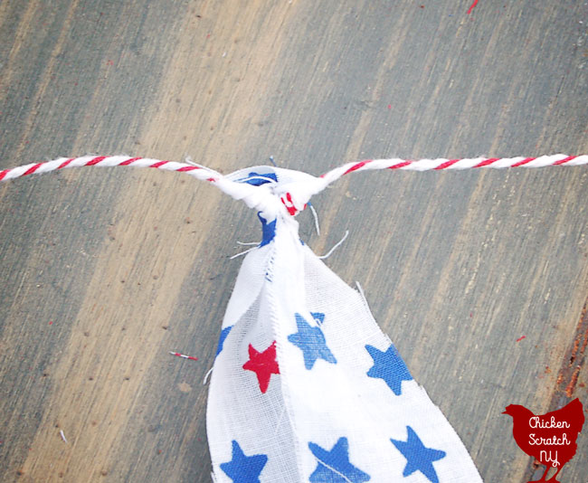 4th of July no sew americana garland from bandanas