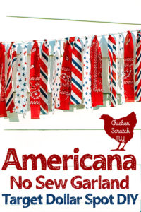 red, white and blue strips of bandanna fabric cut and tied to bakers twine to make an easy 4th of July decoration