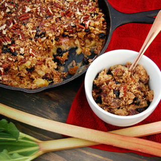 Rhubarb Baked Oatmeal with Blueberries & Pecans