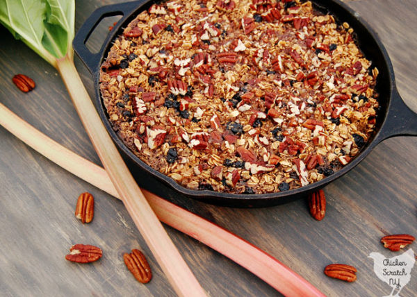 baked oatmeal with rhubarb, pecans and blueberries in a cast iron skillet on a red towel and rhubarb stalks on a grey stained wooden board