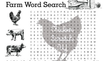 hard farm themed printable word search for kids