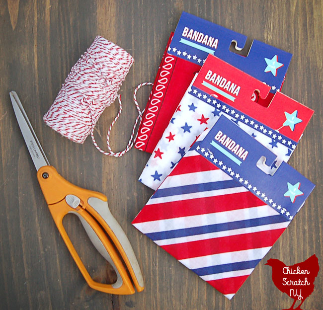 4th of July americana garland supplies bandanas, twine and scissors