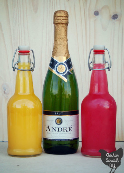 brut champagne, orange juice and rhubarb juice