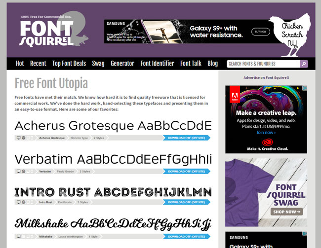 screenshot of font squirrel