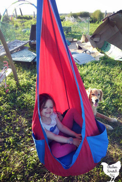 Little girl in red and blue hammock swing wit hgolden retriever in the background