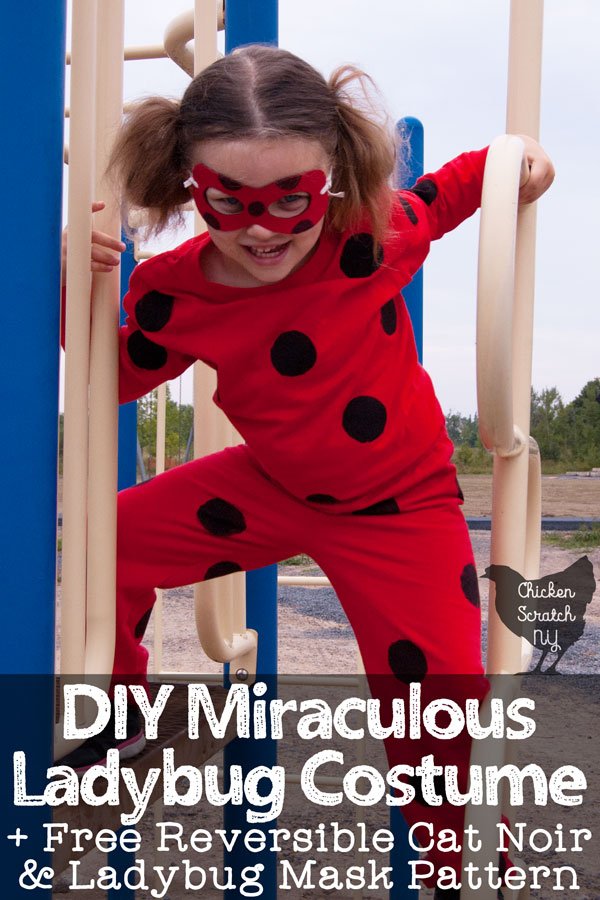 young girl in homemade miraculous ladybug costume on a playground