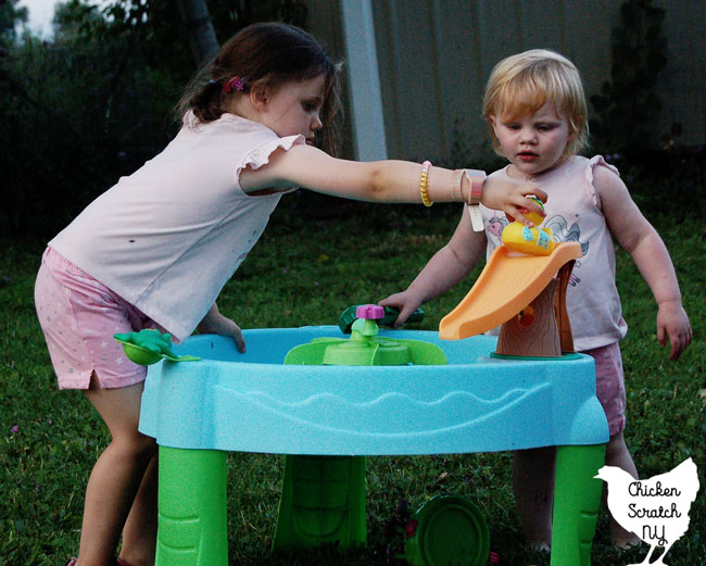 two little girls in pink shorts and pink shirts playing with a blue water table with rubber ducks and a frog