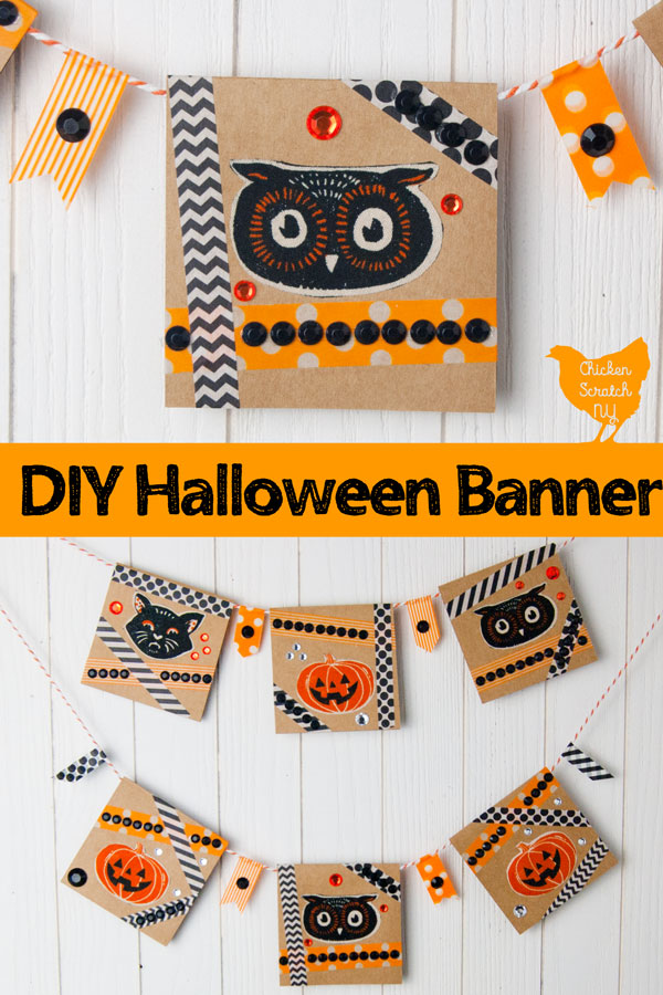 two image collage of DIY Halloween Banner made with kraft paper note cards and washi tape
