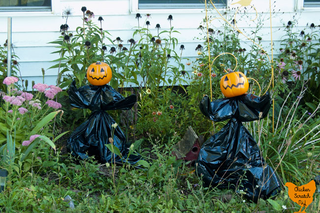 garden stakes turned onto a Halloween garden sculpture with a small fake pumpkin, trash bag and zip ties standing in a late summer garden