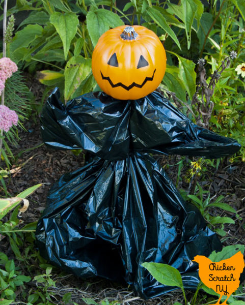 garden stake turned onto a Halloween garden pumpkin goblin with a small fake pumpkin, trash bag and zip ties standing in a late summer garden