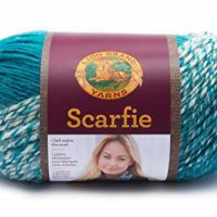 Lion Brand Yarn 826-215 Scarfie Yarn, Cream/Teal