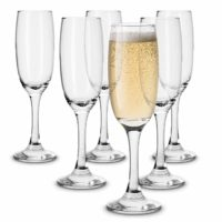 KooK Premium Clear Glass Champagne Flutes, Thin Stem, 7 ounce (6)