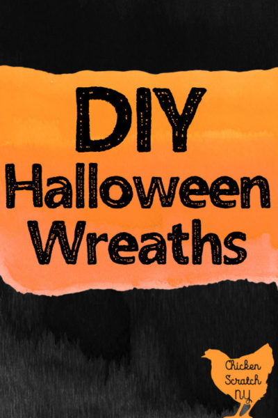 DIY Halloween wreath test over watercolor orange and black background