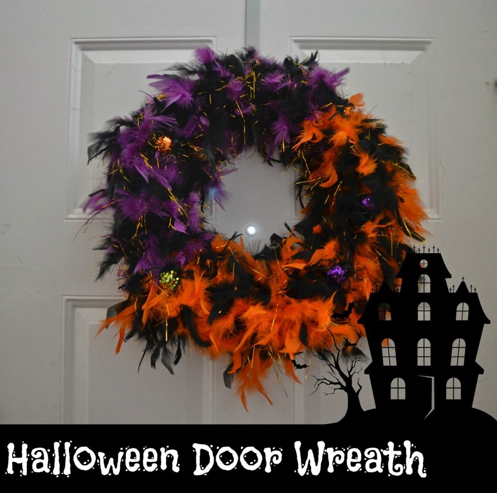 Feathered Halloween Wreath
