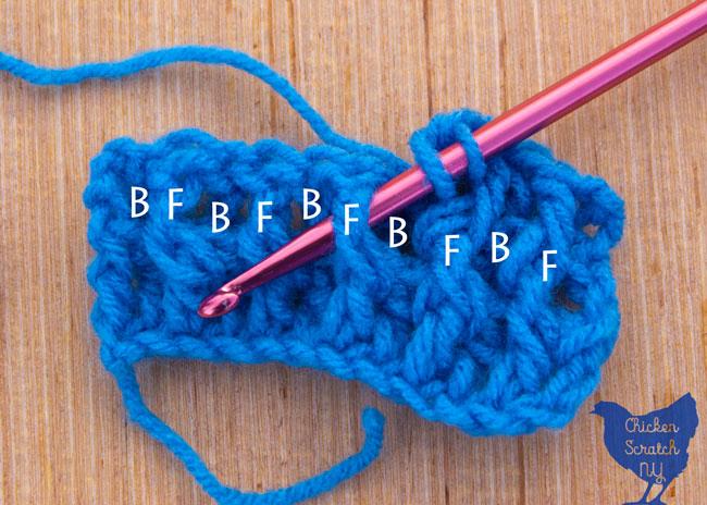 crocheting around the post with blue super saver yarn with the posts labeled Front and Back