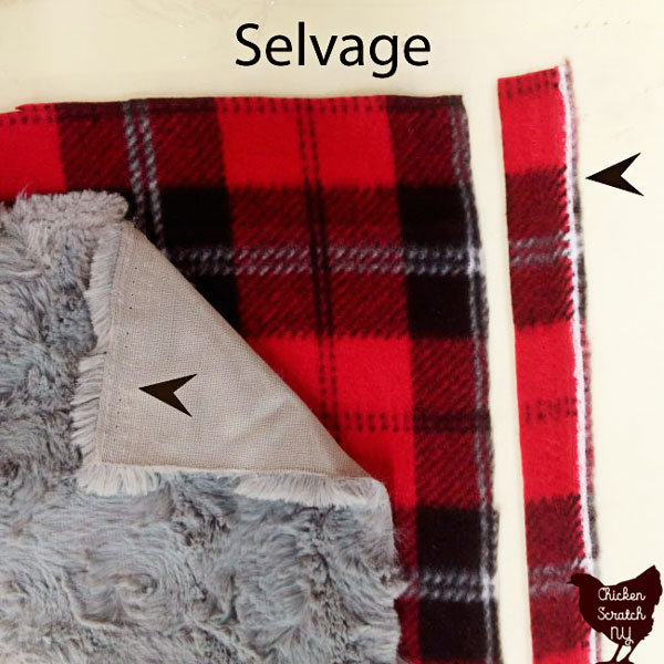 showing the selvage edges of a piece of fake fur and a piece of plaid printed flannel