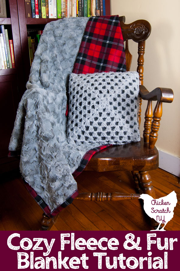 Don't be afraid to embrace the cold with this ultra cozy DIY Fleece and Fur Throw Blanket made with faux fur and plaid printed fleece #DIYblanket #fleeceblankettutorial