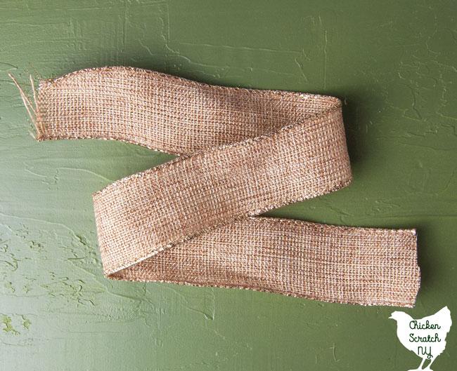 ribbon folded to make a bow