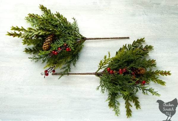 small faux floral picks for rustic Christmas Wreath making