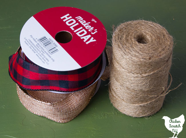 spools of buffalo check and metallic burlap ribbon and twine