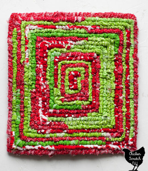 scrappy Christmas colors locker hook mat