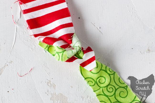tying fabric strips for locker hook step 3