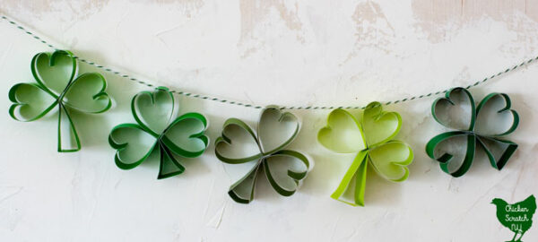 shamrock garland on striped bakers twine