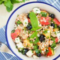 Fruit, herb and feta Israeli couscous salad