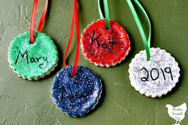 salt dough ornaments painted with glitter nd hand written names