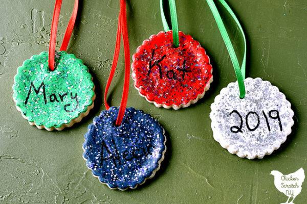 salt dough ornaments painted with glitter nd hand written names