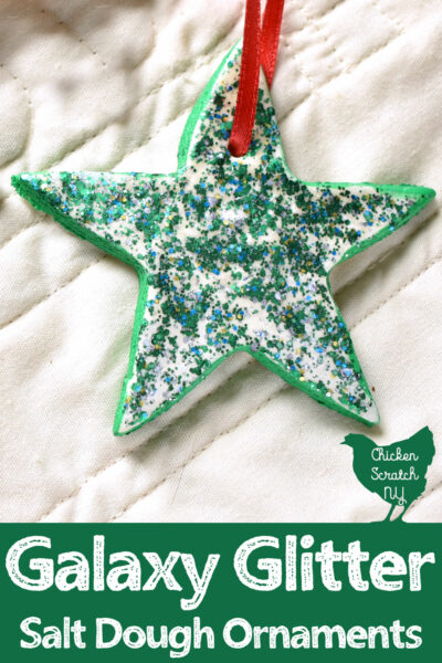 salt dough star ornament painted with green galaxy glitter paint from Decoart