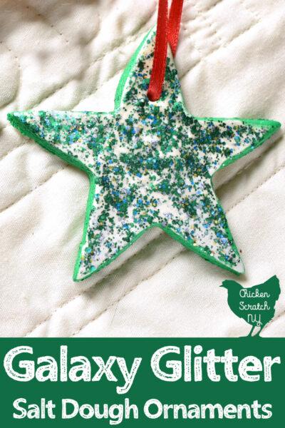 salt dough star ornament painted with green galaxy glitter paint from Decoart