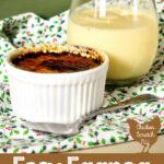 white ramekin filled with eggnog creme brulee