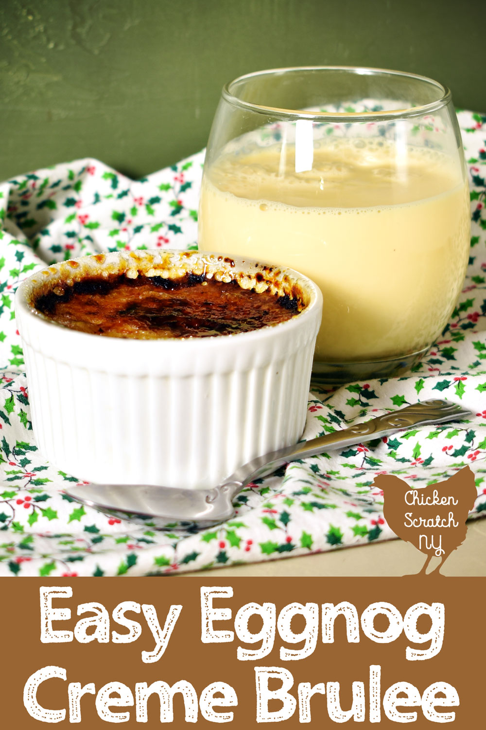 white ramekin filled with eggnog creme brulee