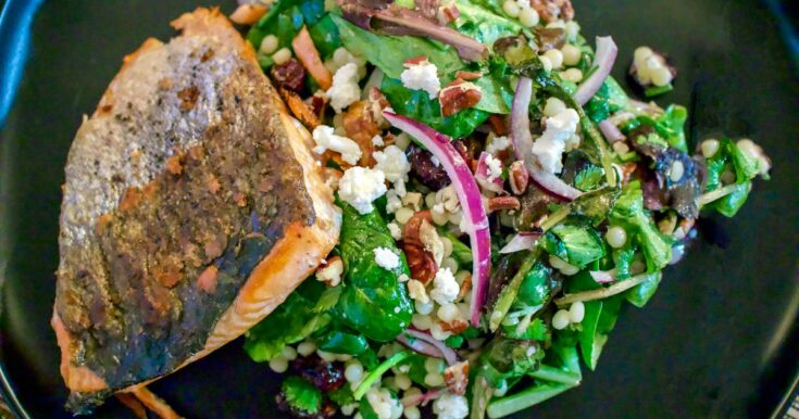 Fresh Baby Spring Greens Couscous Pecans Salad With Grilled Salmon