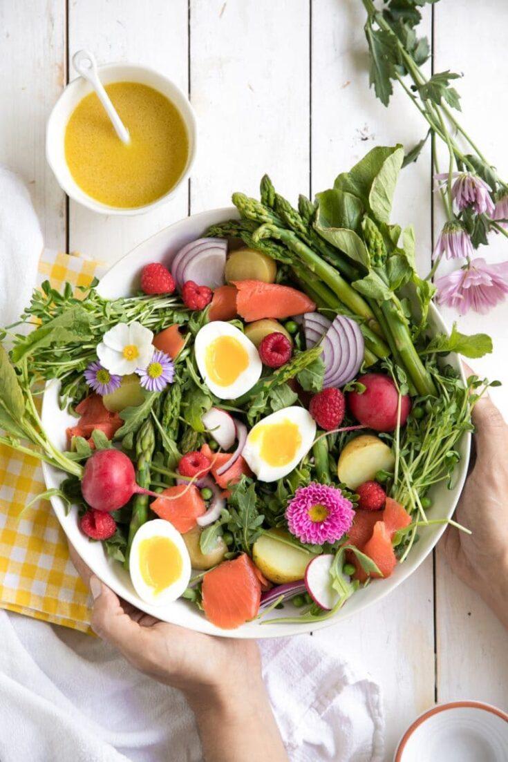Spring Salad w Smoked Salmon & Honey Dijon Vinaigrette