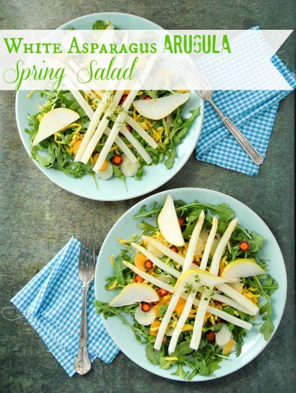 White Asparagus Arugula Spring Salad with Meyer Lemon Balsamic Dressing