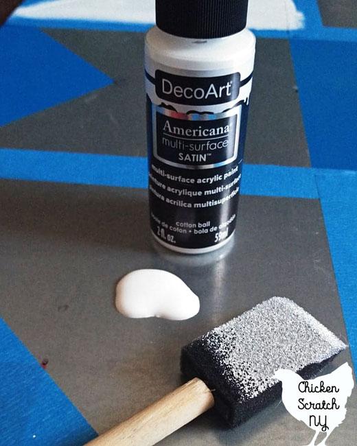 cottonball (white)  DecoArt Americana multi-surface satin paint with sponge brush