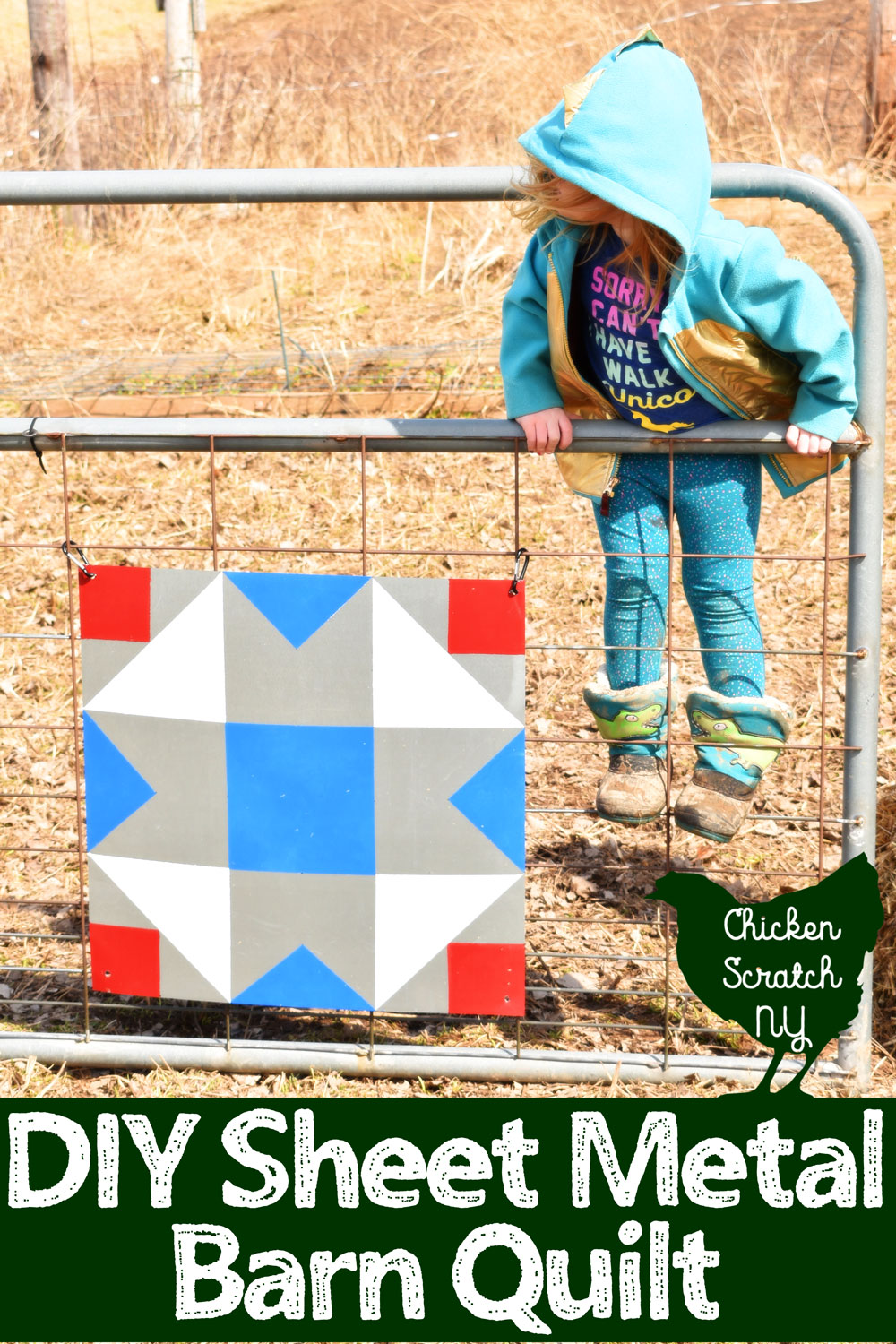 little girl on gate with DIY sheet metal barn quilt block